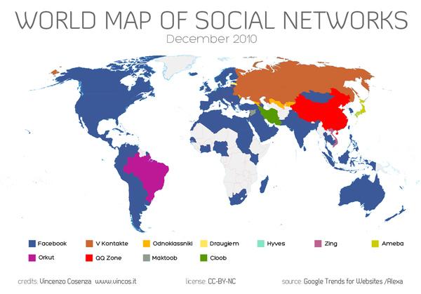 Mapa de Facebook en el mundo - Diciembre del 2010